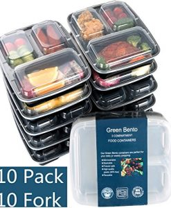 10-Pack3-Compartment-Meal-Prep-Food-Storage-Containers-with-LidsBPA-Free-Bento-Lunch-BoxesDivided-Portion-Control-Container-Plates-Microwave-Dishwasher-Safe-Free-Cutlery-0