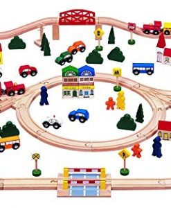 100-piece-Triple-loop-Wooden-Train-Set-Inc-16-Trains-and-Cars-100-Compatible-with-All-Major-Brands-Including-Thomas-Wooden-Railway-System-By-Kids-Destiny-0
