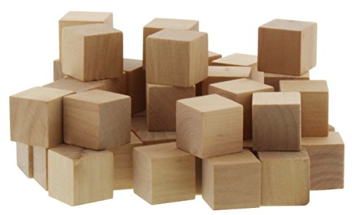 50 Piece Blank Unfinished Natural Wood Wooden Art Craft Stacking Cubes Blocks 1 Inch 254 Centimeter
