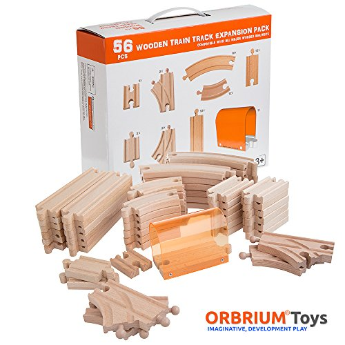56 Piece Wooden Train Track Expansion Pack With Tunnel Compatible Thomas Wooden Railway Brio Chuggington Melissa Doug Imaginarium Set By Orbrium