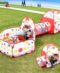 FocuSun-Pop-up-Kids-Play-Tent-with-Tunnel-and-Ball-Pit-Indoor-and-Outdoor-Easy-Folding-Cute-Polka-Dot-3-in-1-Play-House-Childrens-Playground-with-Zippered-Storage-Bag-0