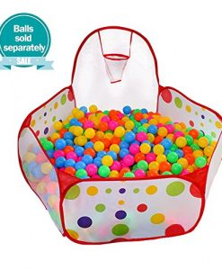 Kuuqa-Kids-Ball-Pit-Ball-Tent-Toddler-Ball-Pit-with-Basketball-Hoop-and-Zippered-Storage-Bag-for-Toddlers-4-ft120cmBalls-not-Included-0